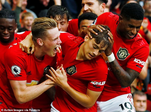 The 23-year-old had netted on his debut against Chelsea at Old Trafford and celebrated wildly