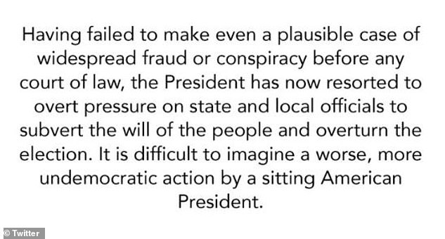 ¿Having failed to make even a plausible case of widespread fraud or conspiracy before any court of law, the President has now resorted to overt pressure on state and local officials to subvert the will of the people and overturn the election,¿ Romney tweeted on Thursday