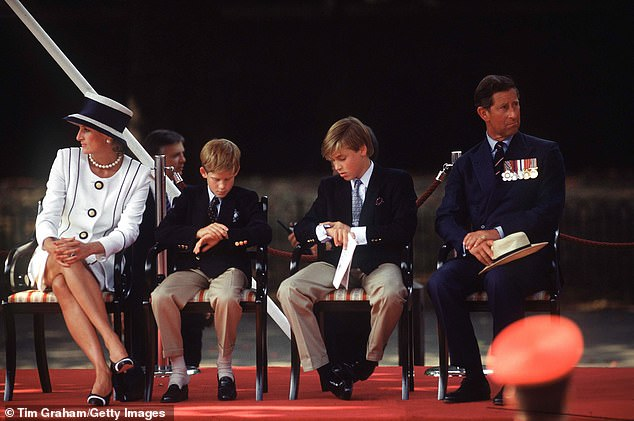 The interview also had an extraordinary impact on her elder son, William (pictured centre, right, with his parents and younger brother Prince Harry)