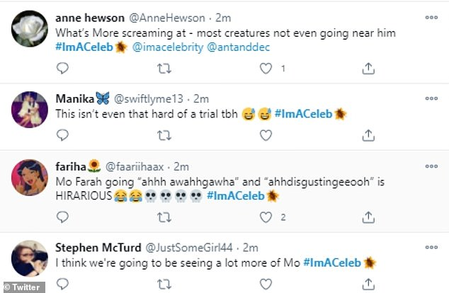 Reaction:Following Mo's trial, I'm A Celebrity viewers were quick to take to Twitter to share their thoughts on his efforts