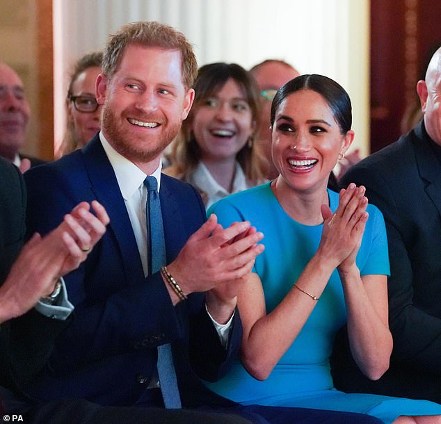 Meghan Markle and Prince Harry (pictured) have reportedly handed the keys of Frogmore Cottage over to Princess Eugenie after clearing out the property 'in the dead of night'