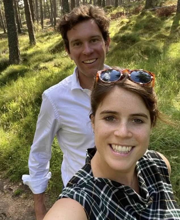 It is understood Eugenie (pictured with her husband) and her cousin reached a 'private agreement' over the Grade II-listed cottage though it is not known how long it will last