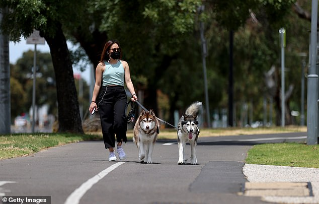 A woman in Adelaide is seen walking her dog on Friday after it was announced restrictions would be eased