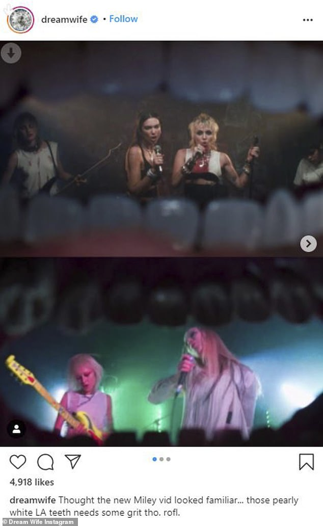 Called out:London-based band Dream Wife took to Instagram on Friday with a somewhat damning accusation, claiming that new video Prisoner from Miley Cyrus and Dua Lipa was a ripoff from their own clip