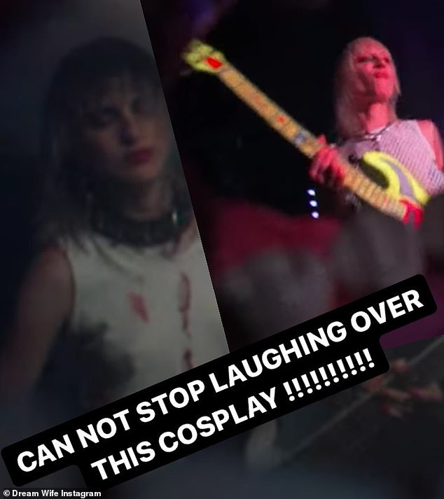 On their Instagram stories: The band posted further material, including a side-by-side image of Miley next to a band member from Dream Wife
