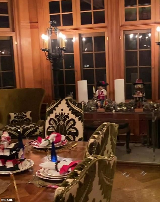 Gorgeous:There were countless ornament-filled trees, elaborate table settings, twinkle lights, Christmas-themed figurines, and more strewn about the star's lavish home