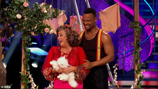 Fun times:The actress, 60, was keen to impress with her cha cha routine this week to Rescue Me by Fontella Bass, with her starring as a damsel in distress while dancer Johannes, 33, was a hunky fireman