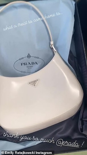 Presents: She showed off a new handbag that was gifted to her from Prada