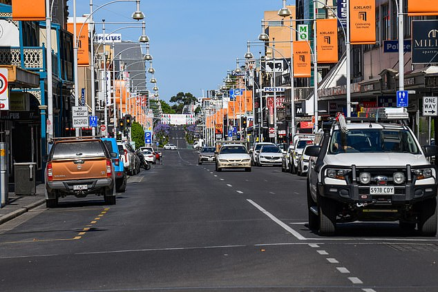 Normally busy roads and Rundle Mall in the centre of Adelaide are largely empty at 9.30am on November 19 during lockdown