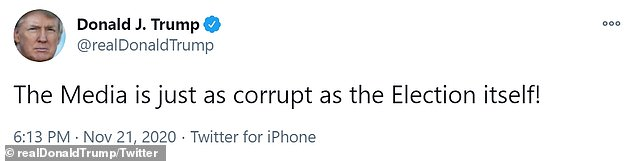 The announcement that his court case in Pennsylvania was dismissed came as Trump tweeted: 'The media is as corrupt as the election itself'