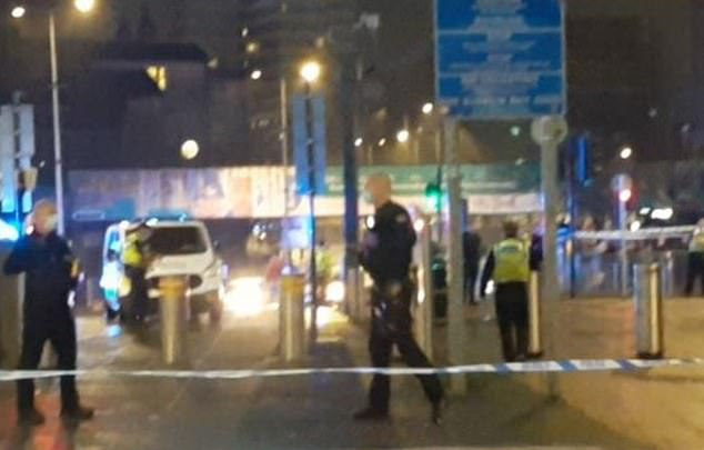 Three people have been stabbed and three others are being treated in hospital after a 'large disturbance' in Cardiff city centre (pictured)
