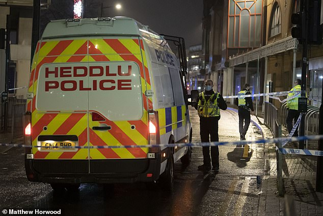 One victim is in a serious condition with head injuries and three people are believed to have been stabbed, South Wales Police said. Pictured, police at the scene