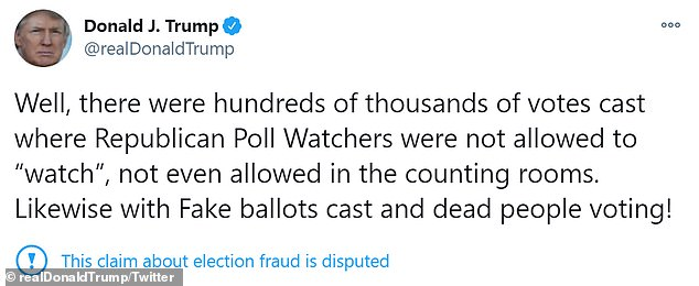 """Trump continued to make unfounded allegations of 'dead people voting' and 'poll watchers not allowed to """"watch""""'"""