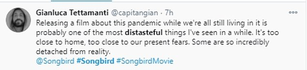So far: The reception to the film has been lukewarm at best, with many Twitter users remarking on how it's too soon or close to home to have a film about a grisly pandemic while the world is still experiencing a real one
