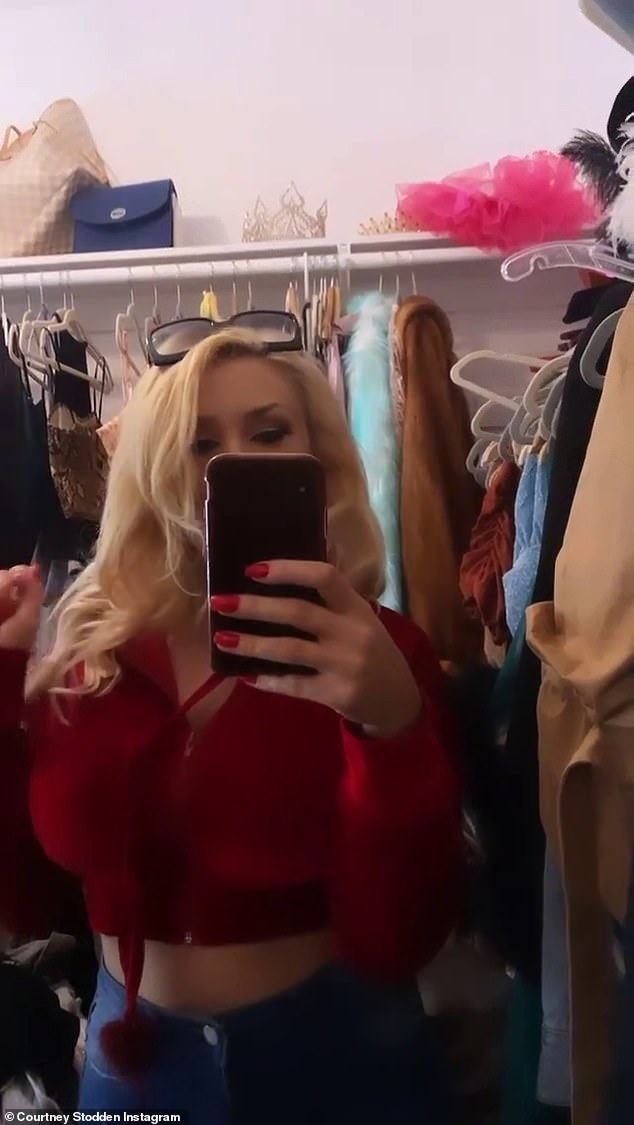 Wardrobe change: Stodden posted a follow-up video where she was dressed in a pair of skin-tight blue jeans with a cropped red sweater that gave more than a hint of her midriff