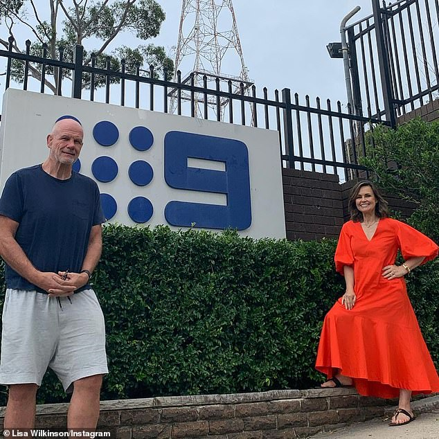 Trip down memory lane: The journalist shared photos of the couple outside the old Channel Nine studios in Sydney's Willoughby where they first met '30 years ago last May'