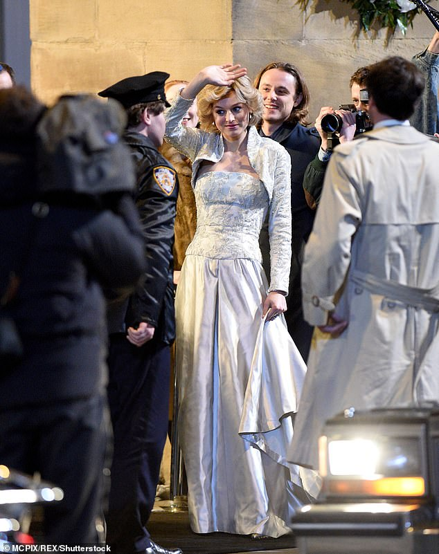 Emma Corrin as Princess Diana 'The Crown' TV show on set filming in Manchester in February