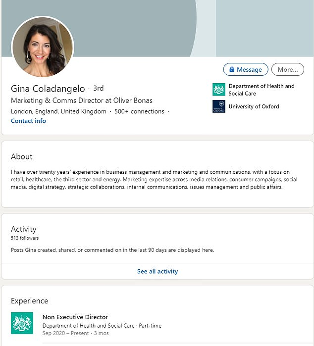 Ms Coladangelo's LinkedIn page notes that she was appointed a part-time non-executive director at DHSC in September