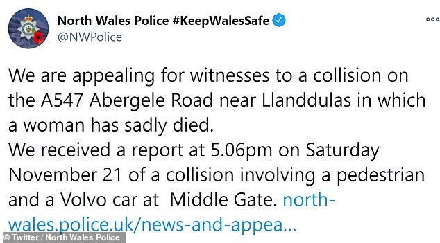 North Wales Police tweeted the A547 at Abergele was closed due to a collision on Saturday evening