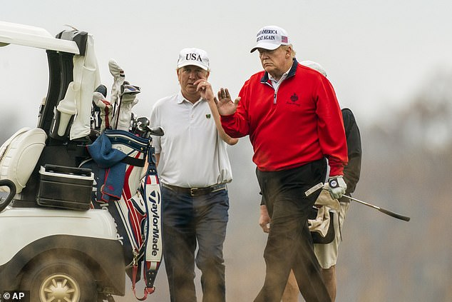 President Donald Trump is photographed at his Sterling, Virginia golf club Saturday. He bristled at reports that said he blew off part of the G20 meeting to play golf