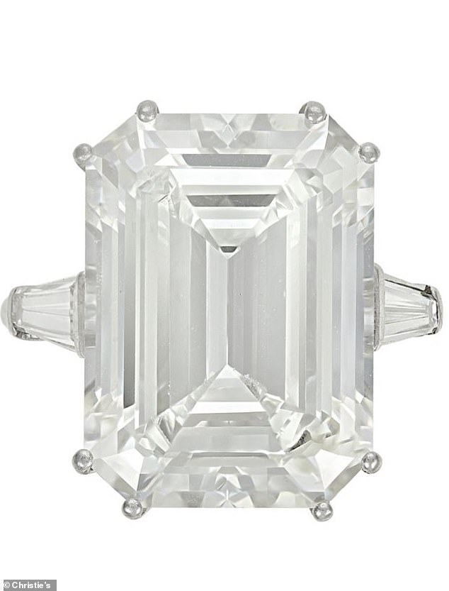 Included in the collection is a 15.02-carat emerald cut diamond ring which is expected to fetch up to $180,000