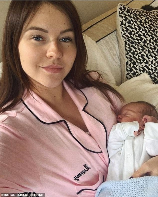 Baby: Shelby Tribble candidly spoke about her first week as a mother after returning home, saying that 'blow drying' her hair is the 'most glam' she has felt since leaving the hospital