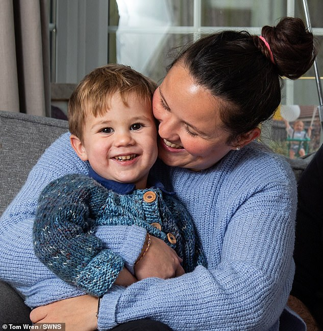 Karen, from Taunton, Somerset, gave birth to Cameron (pictured together) on September 1, 2018, and still has two remaining embryos frozen atBristol Centre for Reproductive Medicine