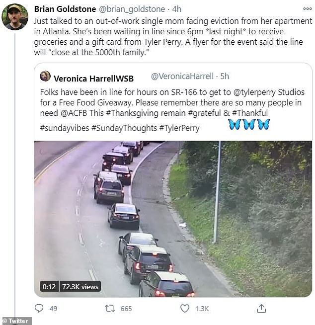 Head start: Fox 5 in Atlanta reported that the first person in line arrived at 3 p.m. on Saturday, 15 hours before the distribution began. Twitter also had views of lines reaching for miles