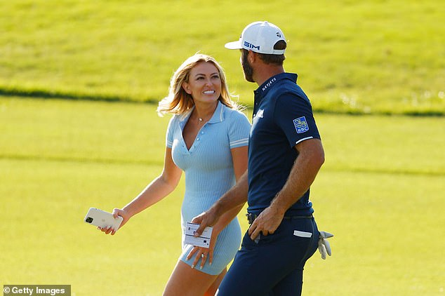 Proud: 'Honey, i'm forever & always your biggest fan. so proud of you @djohnsonpga,' Gretzy wrote after Johnson won at Augusta; pictured on September 7 in Atlanta