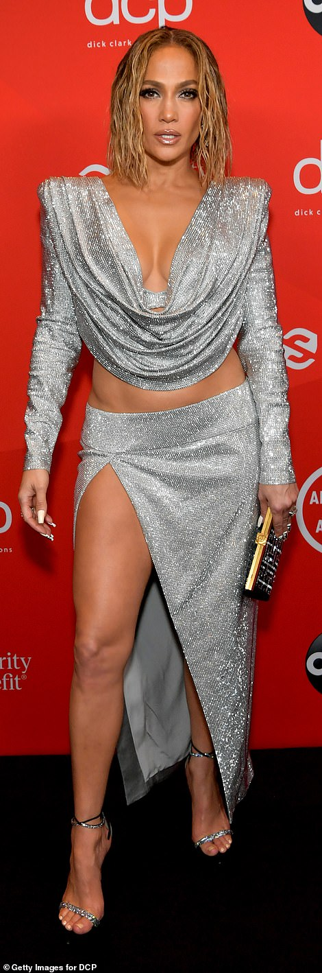 Arrivals: Many of the night's nominees, attendees, and presenters, including megastar Jennifer Lopez and pop princess Dua Lipa, strutted their stuff on the ceremony's socially-distanced red carpet