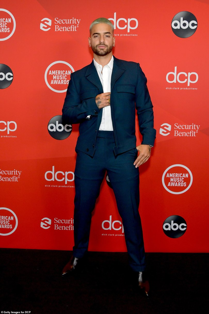Suave:Before hitting the stage with Jennifer Lopez, Maluma put on an ultra suave display in a well fitting navy blue suit