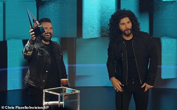 Double duty: Dan + Shay earned Collaboration Of The Year for 10,000 Hours for their work with Justin Bieber