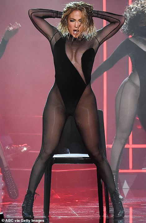 Chair dance: They performed a sizzling chair dance, flaunting her gorgeous figure in the barely-there ensemble