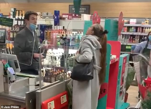 Moment maskless woman SPITS at cashier in Waitrose | Daily Mail Online