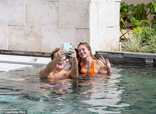 Say cheese! The influencer, who boasts 1.3m Instagram followers, beamed as she snapped some fun selfies with her pal