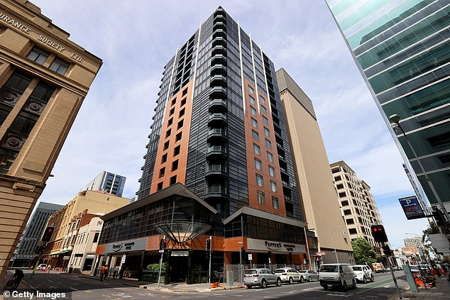 Peppers medi-hotel (pictured) in Adelaide is at the centre of the COVID-19 outbreak scandal as suspicions are raised the pizza worker was at the facility, despite being employed at the Stamford Hotel