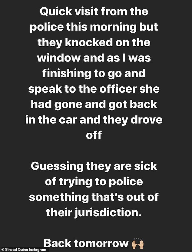 Earlier this month, Ms Quinn posted videos on Instagram showing her arguing with council officials who had visited her salon to see if it was complying with the rules. Pictured, a message she posted recently