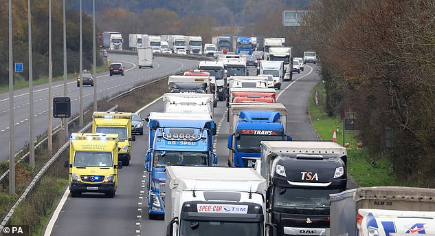 Freight lorries queuing along the M20, with two ambulances also seen in one of the lanes. Getlink said this afternoon that traffic was now flowing 'smoothly' through the terminal