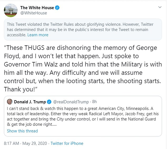 Trump is no stranger to being flagged on Twitter and especially since moving into the White House. Twitter slapped a red flag on a tweet he shared in May citing it 'glorifies violence.' Trump shared 'when the looting starts, the shooting starts,' which was hidden by a warning label because it violated Twitters rules