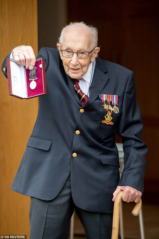 The World War Two veteran, who was knighted after raising money by walking laps of his Bedfordshire garden in April, said he keeps his strength up with a 'big bowl of porridge every morning, which he has 'done all of his life, as far back as he can remember