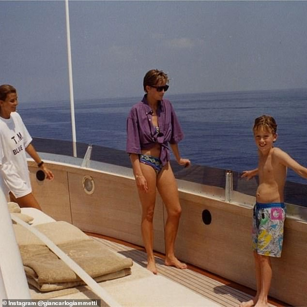 Giancarlo previously shared another image from the trip in July 2014 - showing Diana chatting to Rosario (left) and a young boy (right)