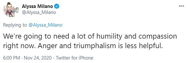In a follow-up tweet, she wrote: ¿We¿re going to need a lot of humility and compassion right now. Anger and triumphalism is less helpful.¿