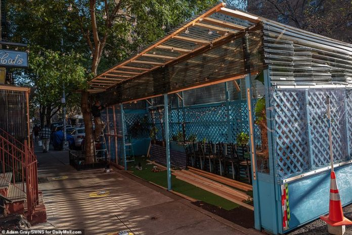 NYC: An artistic patio with blue wood slats is seen in Manhattan on November 20