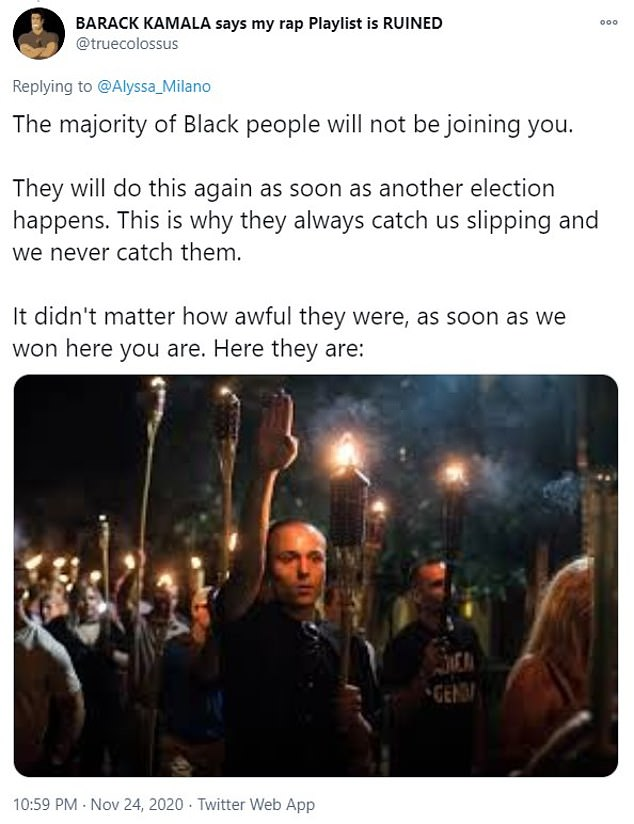 ¿The majority of Black people will not be joining you,¿ tweeted one Twitter user who posted a photo of a white supremacist making a Nazi hand gesture