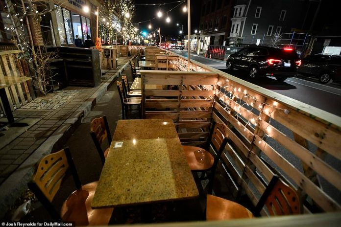 BOSTON: Tables sit empty at a restaurant in Somerville amid low temperatures