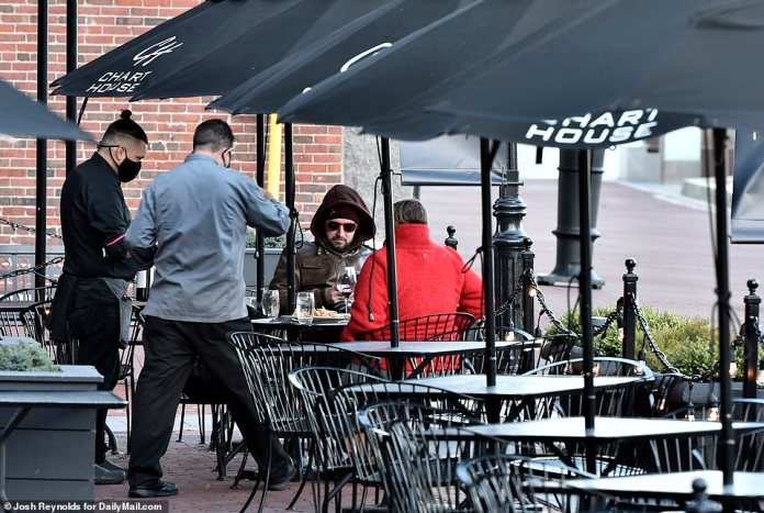 BOSTON: Patrons bundle up in parkas to brave an outdoor patio on Boston's North End