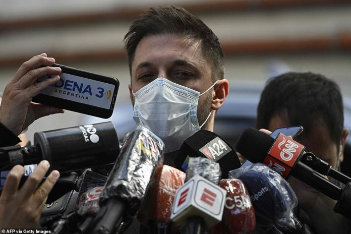 Maradona's lawyer Matias Morla (pictured today) said months before the footballer's death he would assume his responsibilities as Santiago's father if the blood link was confirmed