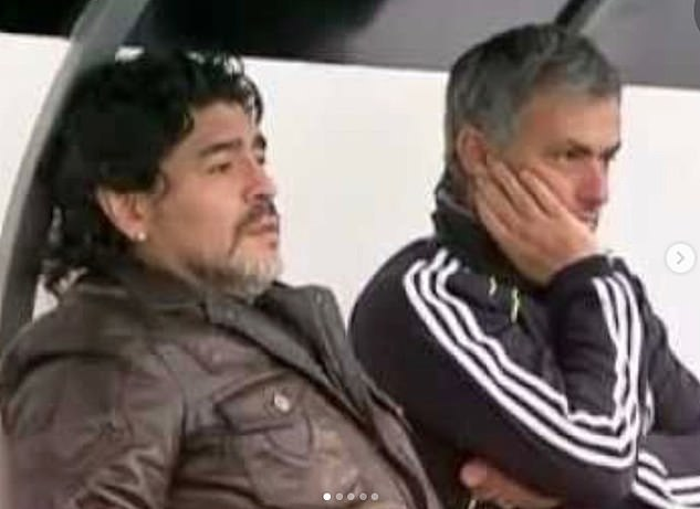 Jose Mourinho shared a picture of him with the Argentinian on his social media page this evening