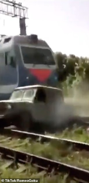 The vehicle was was hit and destroyed by a fast moving train