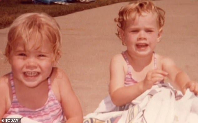 Looking back: During the video, Barbara reminisced about how 'hilarious' Jenna was when they were kids. Jenna (left) and Barbara (right) are pictured as children